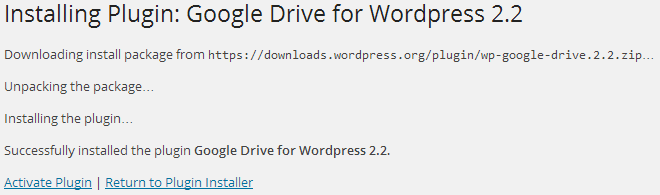 Activate Google Drive for WordPress