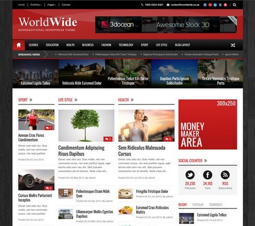 World Wide Wordpress Theme